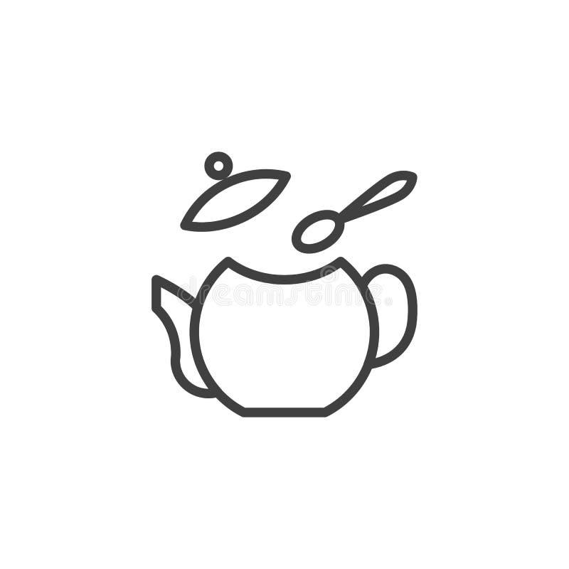 Ligne d'instruction de brassage de thé icône illustration stock