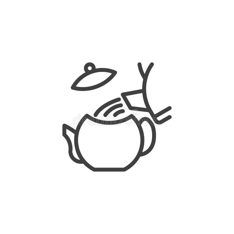 Ligne d'instruction de thé de brassage icône illustration de vecteur