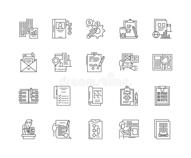 Ligne d'instructions icônes, signes, ensemble de vecteur, concept d'illustration d'ensemble illustration libre de droits