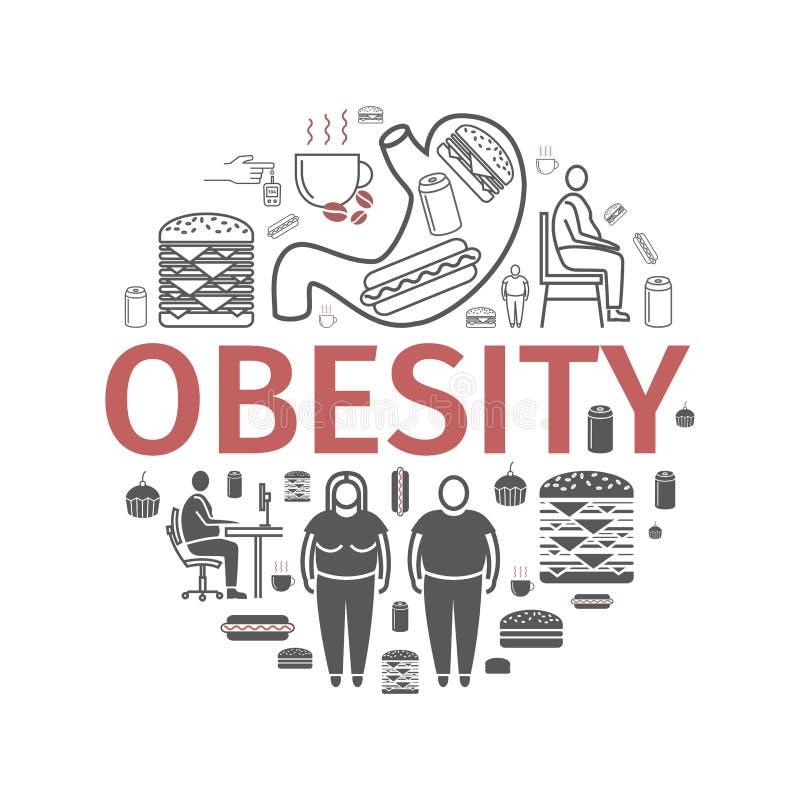 Ligne d'obésité et icônes plates Infographie Signe de vecteur pour des graphiques de Web illustration libre de droits