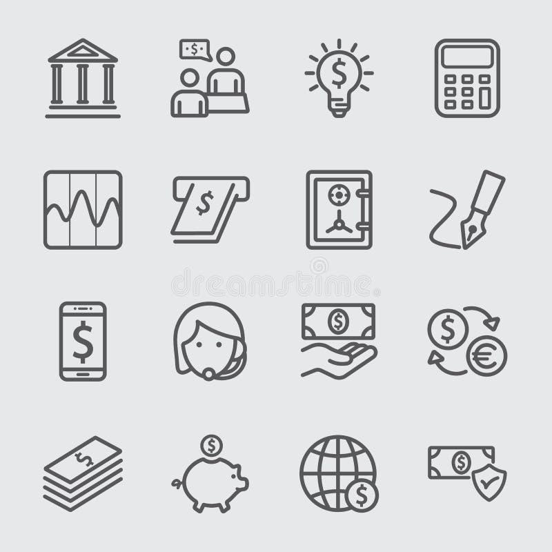 Ligne d'opérations bancaires icône illustration de vecteur