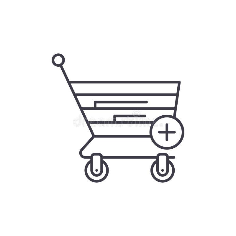 Ligne de achat en ligne concept d'icône Illustration linéaire de achat en ligne de vecteur, symbole, signe illustration libre de droits
