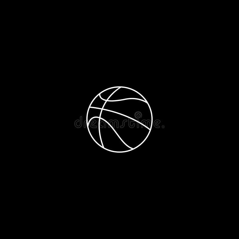 Ligne de basket-ball blanc d'ic?ne sur le fond noir illustration libre de droits