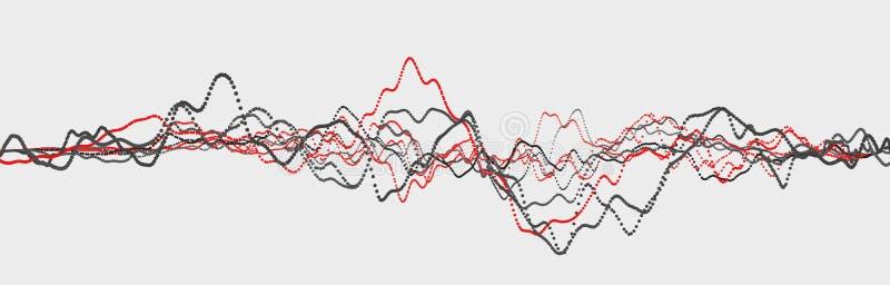Ligne de battement de coeur cardiogram Impulsion de coeur ?coulement l?ger dynamique rendu 3d illustration de vecteur