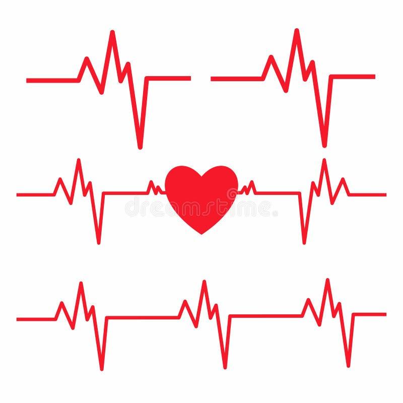 Ligne de battement de coeur d'isolement sur le fond blanc Icône de cardiogramme de coeur illustration libre de droits