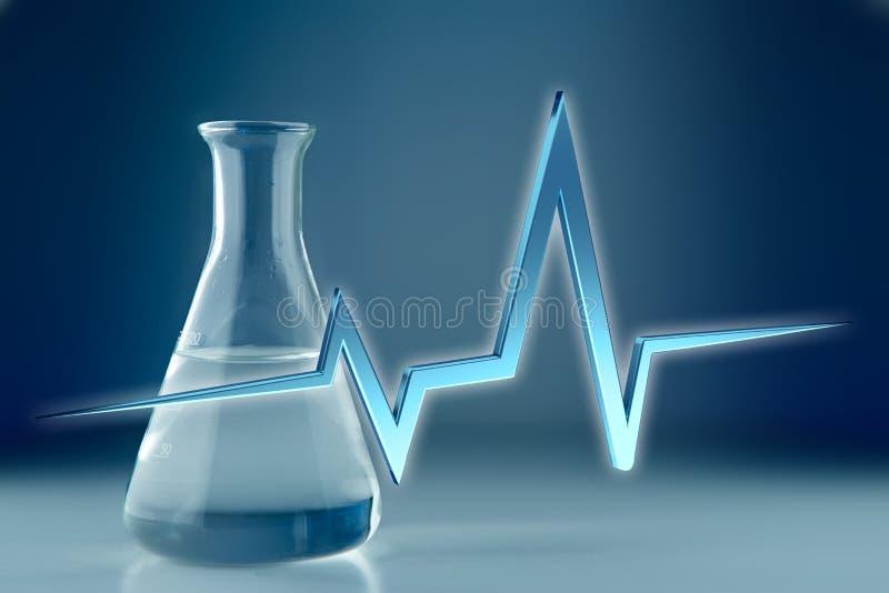 ligne de battement de coeur du rendu 3d sur un fond médical illustration libre de droits