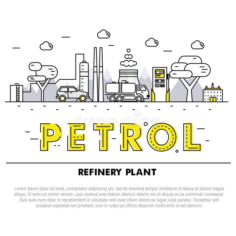 Ligne de bloc mince d'industrie moderne d'essence icônes et compositio plats illustration libre de droits