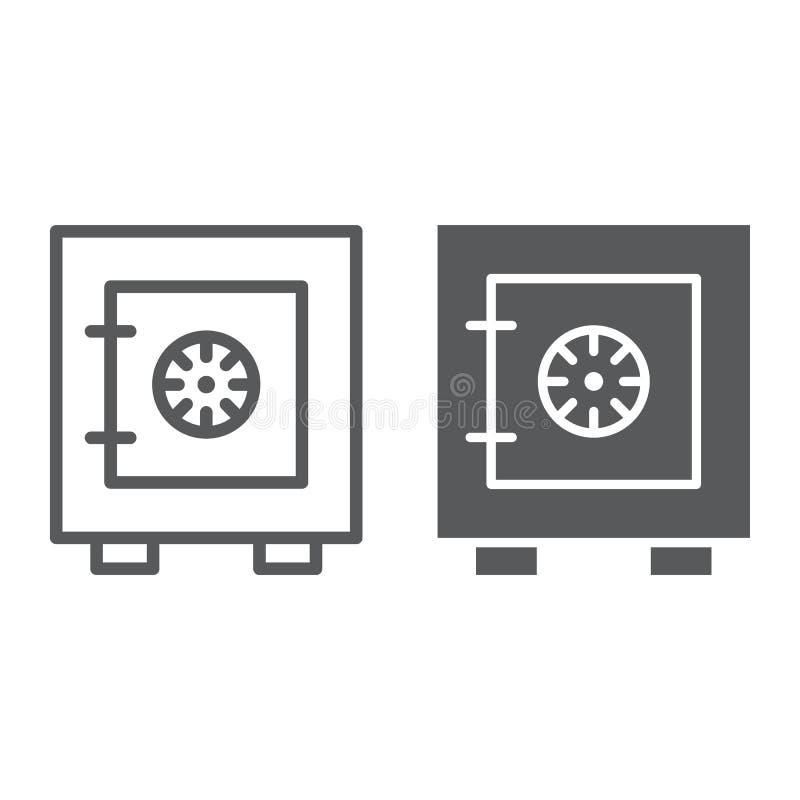 Ligne de boîte de sécurité et icône de glyph, coffre-fort et sécurité, signe de coffre-fort, graphiques de vecteur, un modèle lin illustration de vecteur