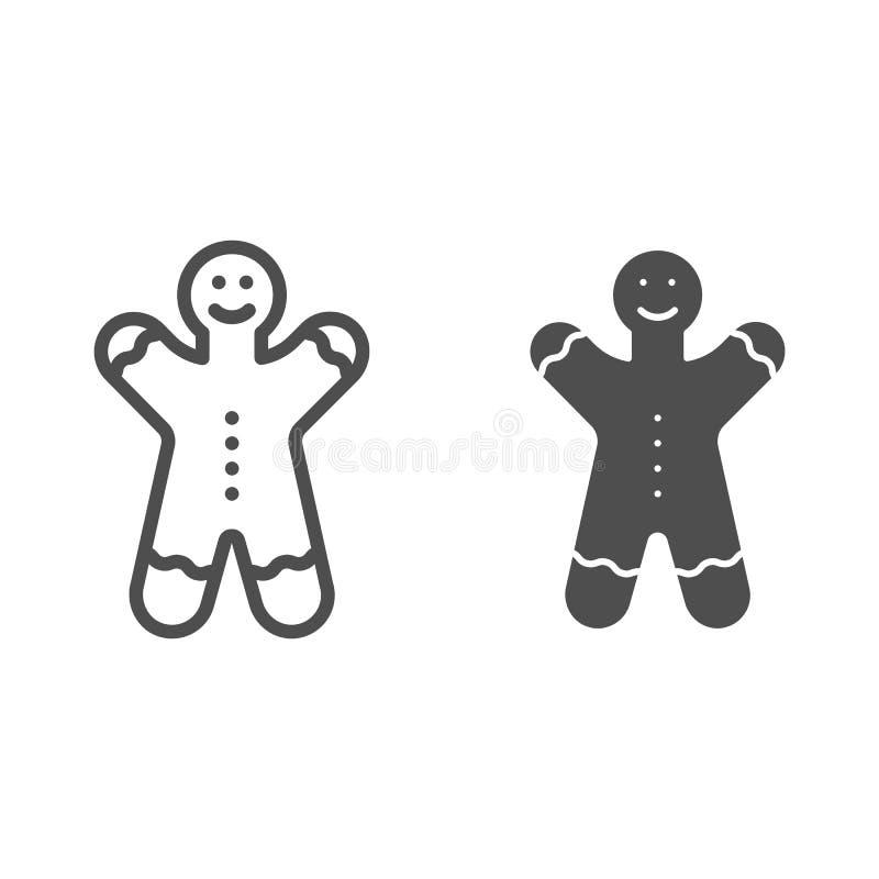 Ligne de bonhomme en pain d'épice et icône de glyph Les bonbons à Noël dirigent l'illustration d'isolement sur le blanc Style d'e illustration stock