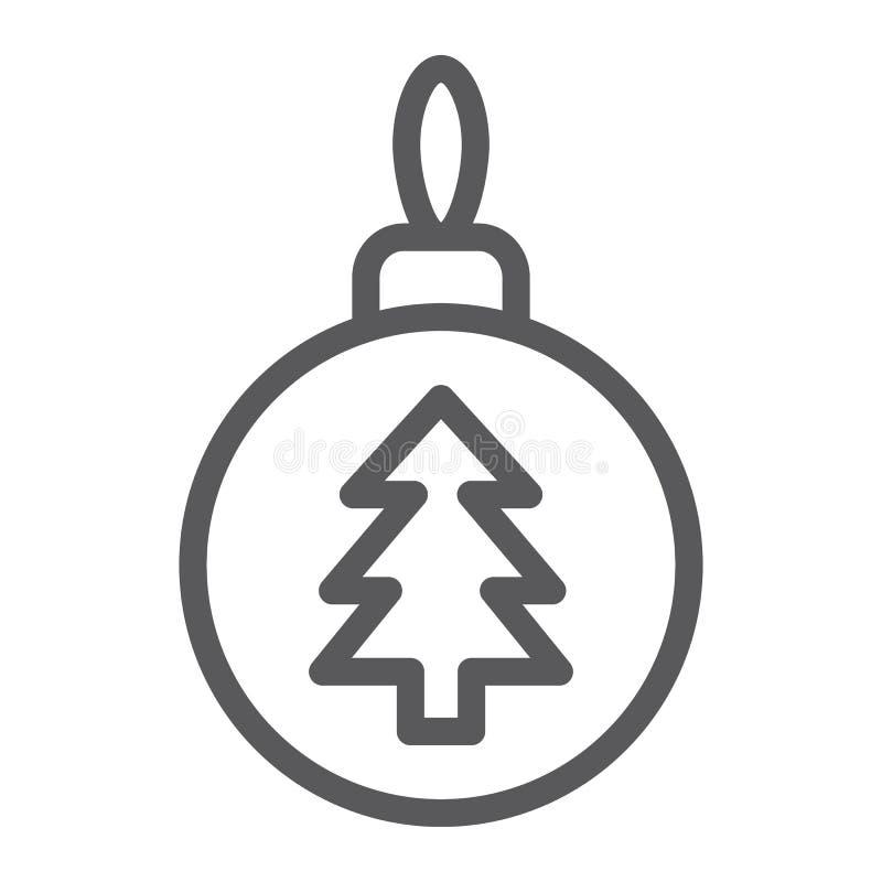 Ligne de boule d'arbre de Noël icône, Noël et décoration, signe de babiole, graphiques de vecteur, un modèle linéaire sur un fond illustration libre de droits