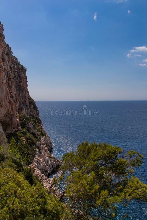Ligne de côte avec les roches verticales photographie stock libre de droits