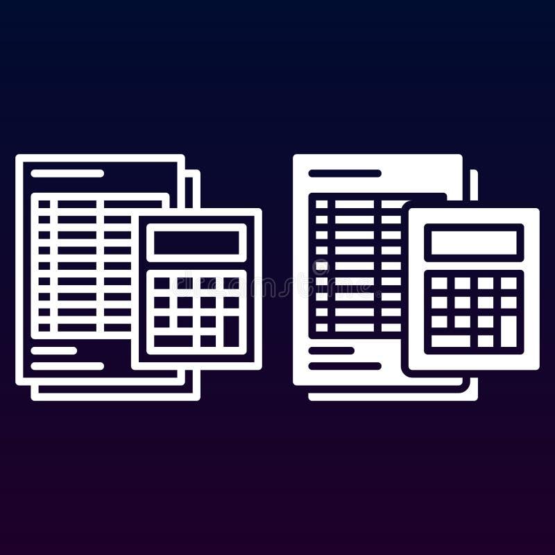 Ligne de calculatrice et de feuille et icône solide, contour et pictogramme de signe de vecteur, linéaire et plein rempli d'isole illustration stock