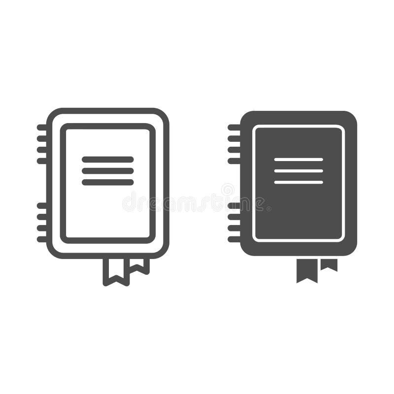 Ligne de carnet et ic?ne de glyph Illustration de vecteur de bloc-notes d'isolement sur le blanc Conception de style d'ensemble d illustration de vecteur