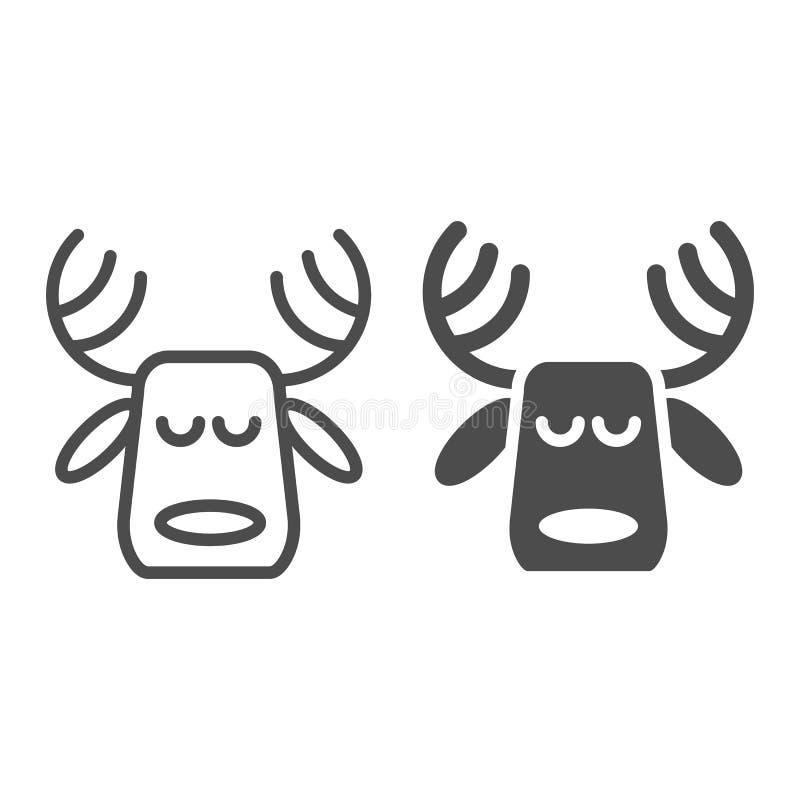 Ligne de cerfs communs et icône à cornes de glyph Les cerfs communs de Noël dirigent l'illustration d'isolement sur le blanc Conc illustration de vecteur