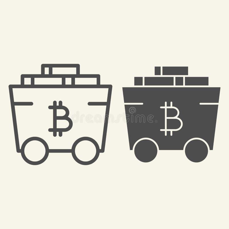 Ligne de chariot de Bitcoin et icône de extraction de glyph Crypto illustration de vecteur de chariot d'isolement sur le blanc Tr illustration stock