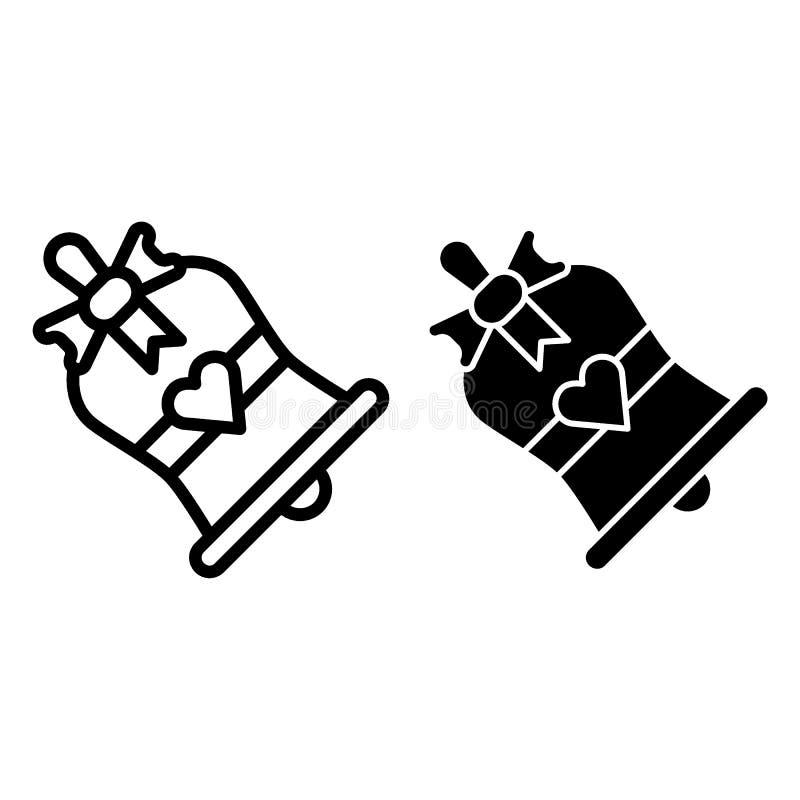 Ligne de cloches d'église et icône de glyph Illustration de vecteur de cloches de mariage d'isolement sur le blanc Bells avec le  illustration stock