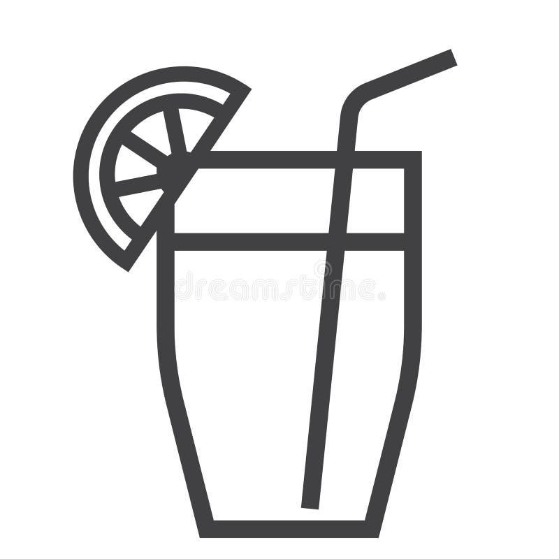 Ligne de cocktail icône, nourriture et boisson illustration libre de droits