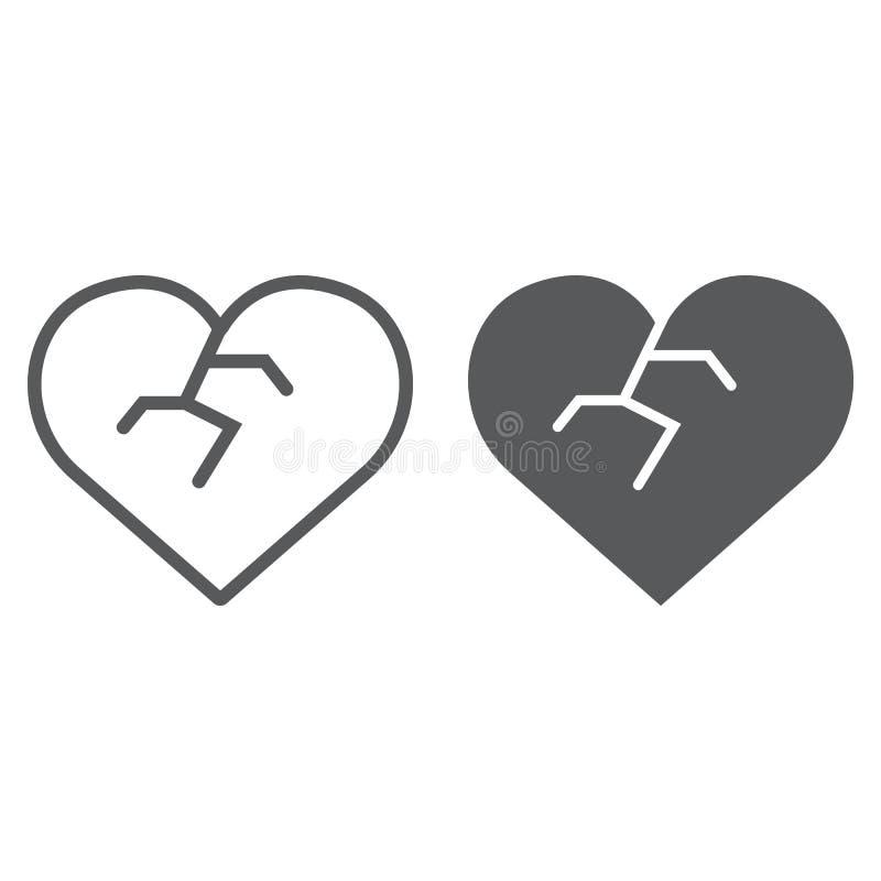 Ligne de coeur brisé et icône de glyph, amour et fauché, signe de immense chagrin, graphiques de vecteur, un modèle linéaire sur  illustration libre de droits