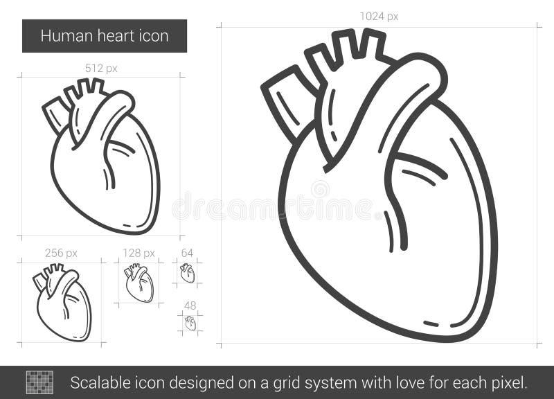 Ligne de coeur humaine icône illustration stock