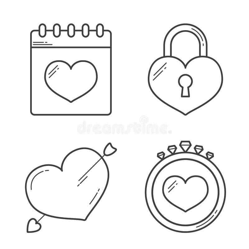 Ligne de coeur icônes illustration stock