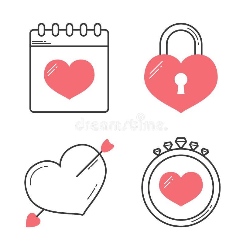 Ligne de coeur icônes illustration libre de droits