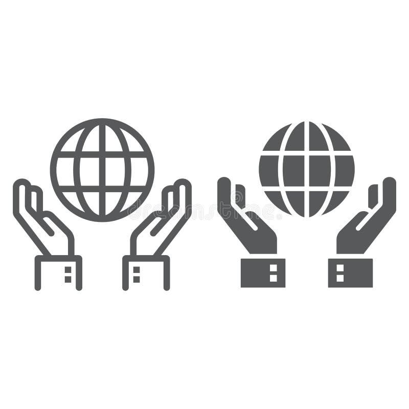 Ligne de conservation de biosphère et icône de glyph illustration stock