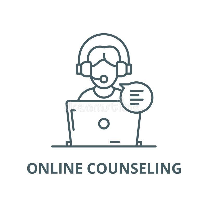 Ligne de consultation en ligne ic?ne, concept lin?aire, signe d'ensemble, symbole de vecteur illustration libre de droits
