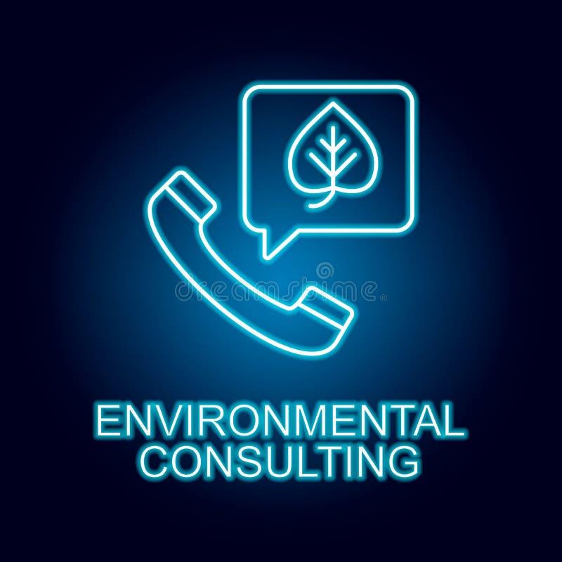 ligne de consultation environnementale ic?ne dans le style au n?on ?l?ment d'ic?ne de ressources humaines pour les apps mobiles d illustration de vecteur