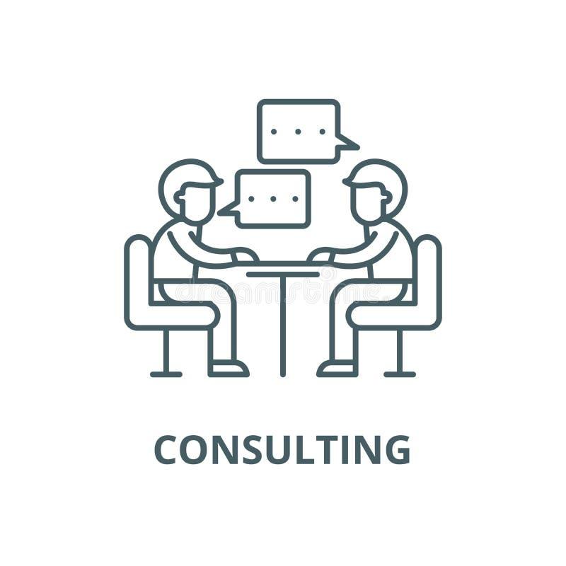 Ligne de consultation icône, concept linéaire, signe d'ensemble, symbole de vecteur illustration libre de droits