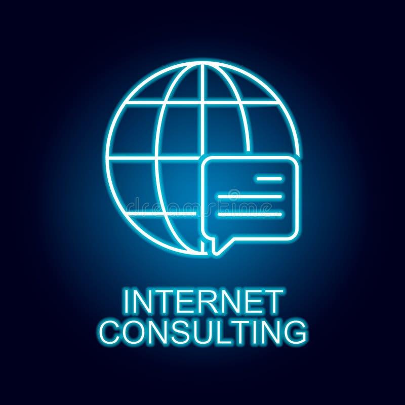 ligne de consultation ic?ne d'Internet dans le style au n?on ?l?ment d'ic?ne de ressources humaines pour les apps mobiles de conc illustration de vecteur