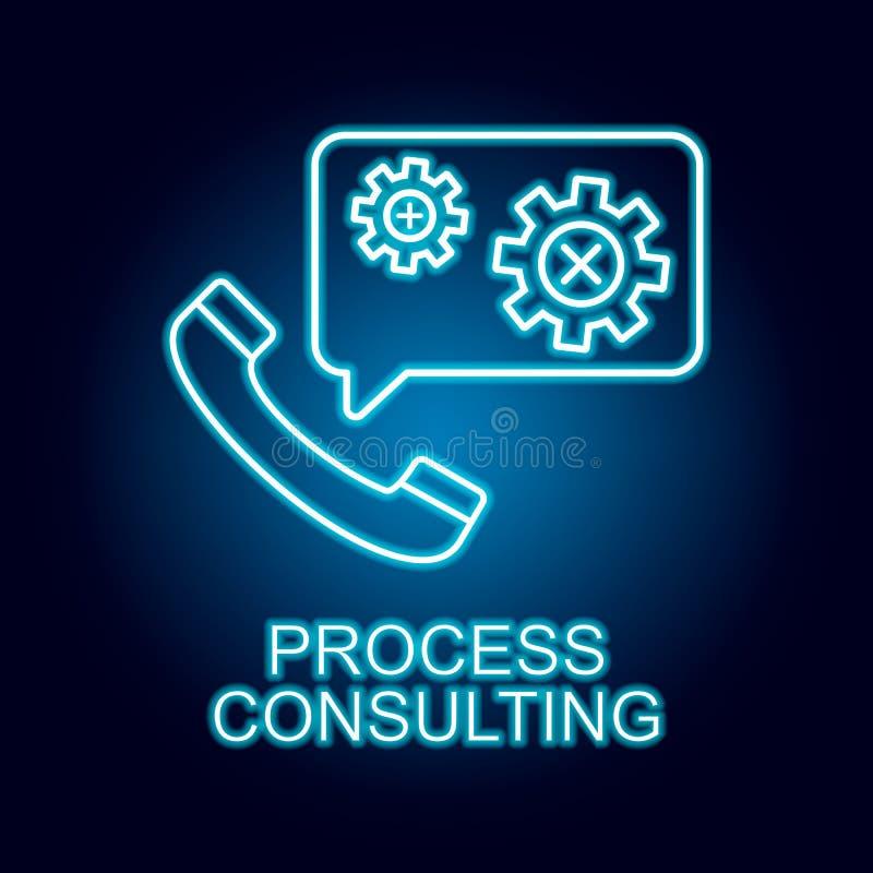 ligne de consultation de processus ic?ne dans le style au n?on ?l?ment d'ic?ne de ressources humaines pour les apps mobiles de co illustration stock