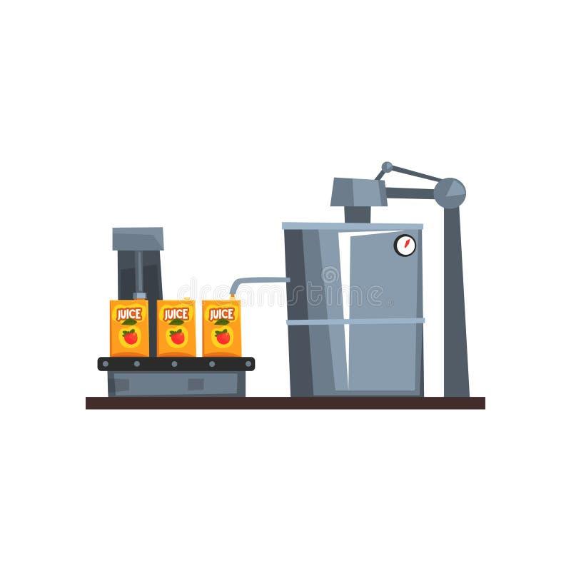 Ligne de convoyeur pour le jus de empaquetage, illustration de vecteur d'étape de processus de fabrication sur un fond blanc illustration stock