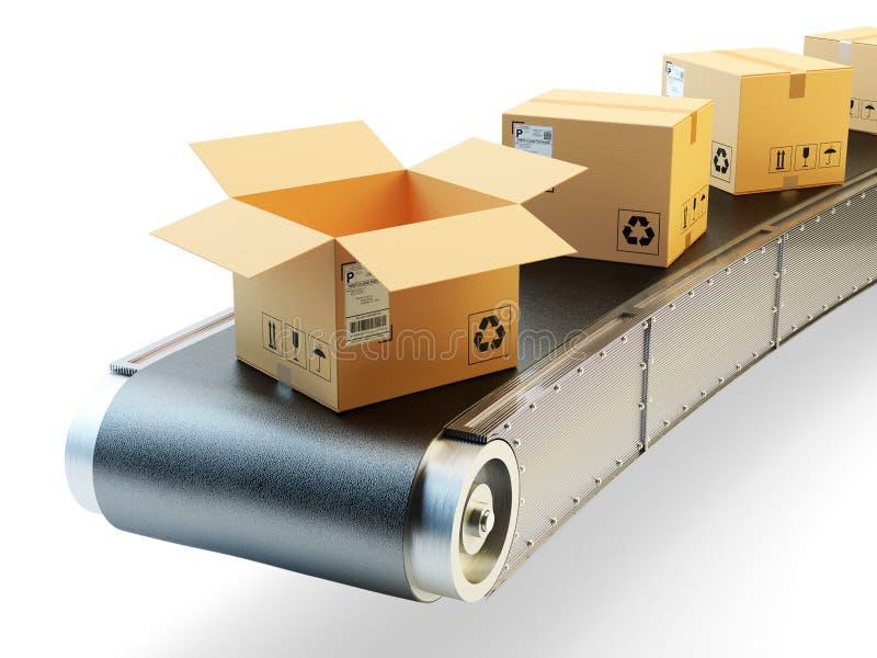 Ligne de convoyeurs d'emballage, livraison de paquets et colis embarquant le concept images libres de droits