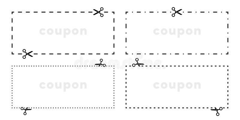 Ligne de coupe coupée par bon de ciseaux icône de vecteur illustration stock