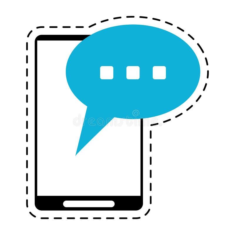 Ligne de coupe de conversation de la parole de bulle de Smartphone illustration de vecteur