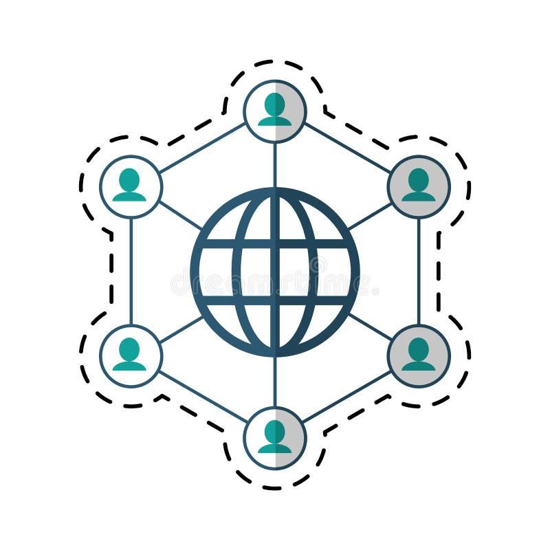 Ligne de coupe reliée par globe de communication de la communauté illustration libre de droits