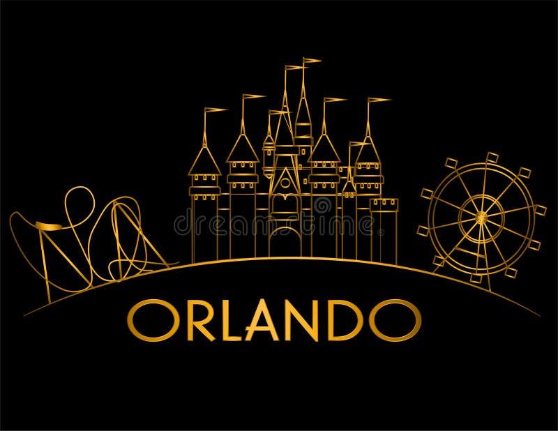 Ligne de courbe d'or d'Orlando Atractions sur le fond noir Carte de vacances illustration libre de droits