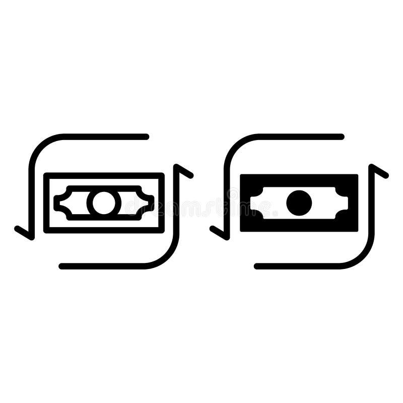 Ligne de cours du dollar et icône de glyph Illustration de vecteur de devise d'isolement sur le blanc Conception de style d'ensem illustration libre de droits