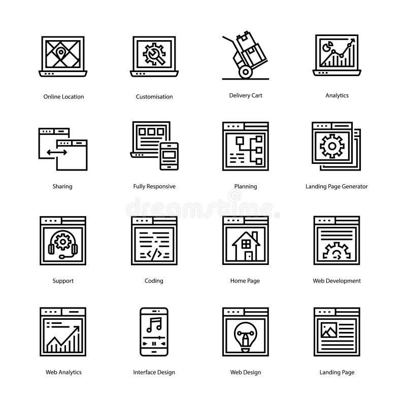 Ligne de débarquement icônes de page de vecteur image libre de droits