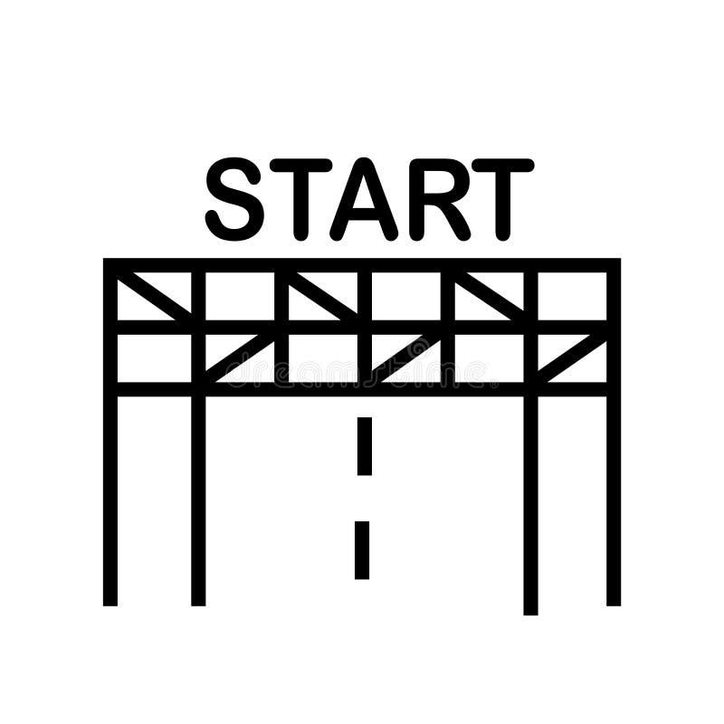 Ligne de départ vecteur d'icône d'isolement sur le fond blanc, ligne de départ signe, symbole linéaire et éléments de conception  illustration de vecteur