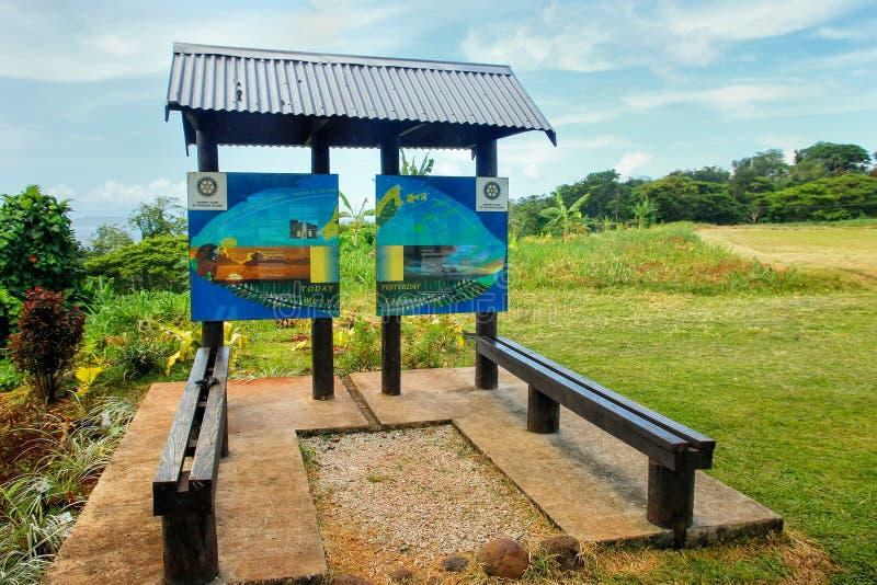 ligne de date internationale méridienne de 180 degrés panneau près de Waiyevo o photographie stock libre de droits