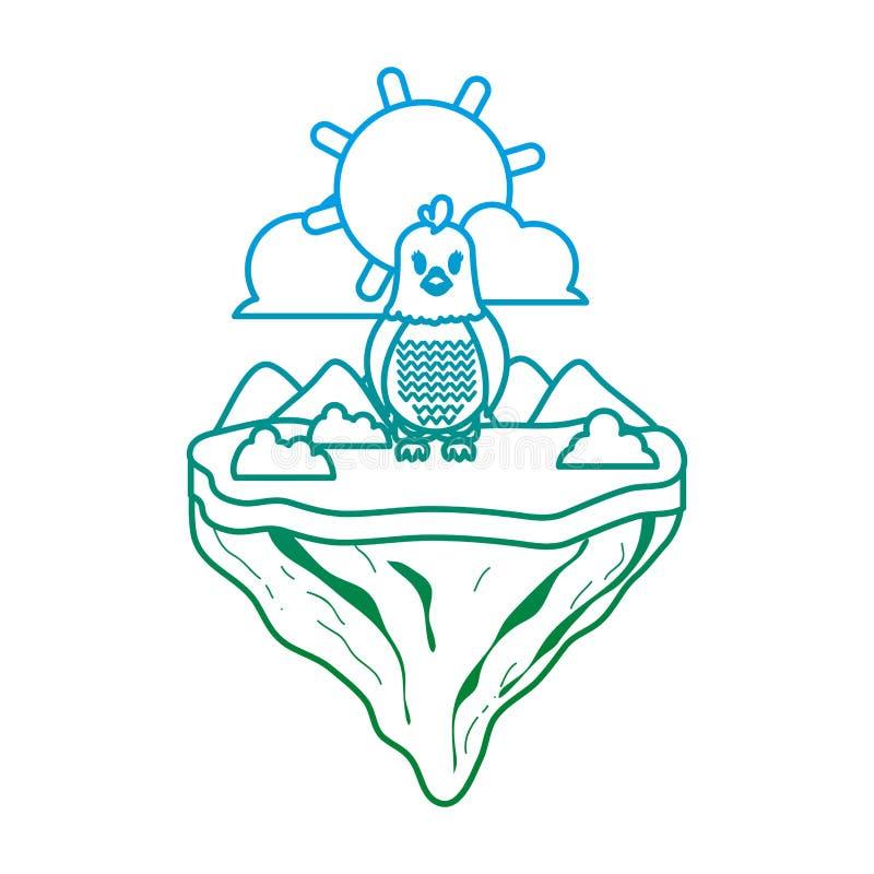 Ligne de Degarded animal femelle de poule en île de flotteur illustration libre de droits