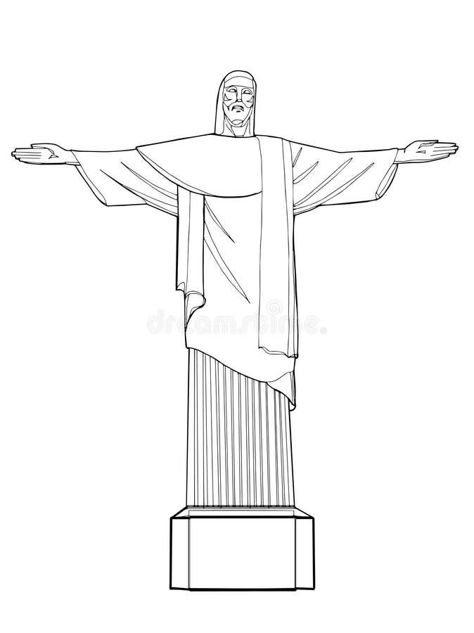 Ligne de dessin d'icône de Rio de Janeiro le Christ et fond blanc illustration libre de droits