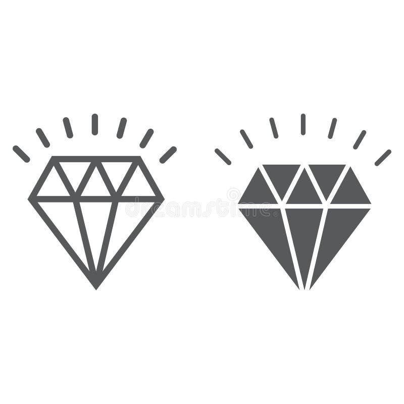 Ligne de diamant et icône de glyph, cher et de luxe illustration stock