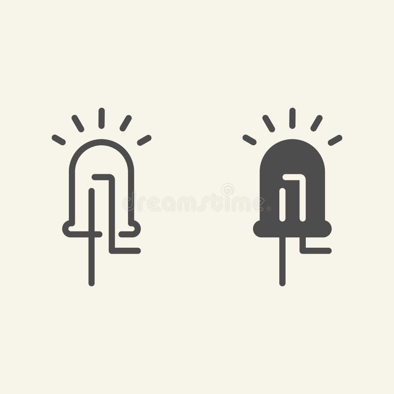 Ligne de diode électroluminescente et icône de glyph Illustration menée de vecteur d'isolement sur le blanc Style électrique d'en illustration stock