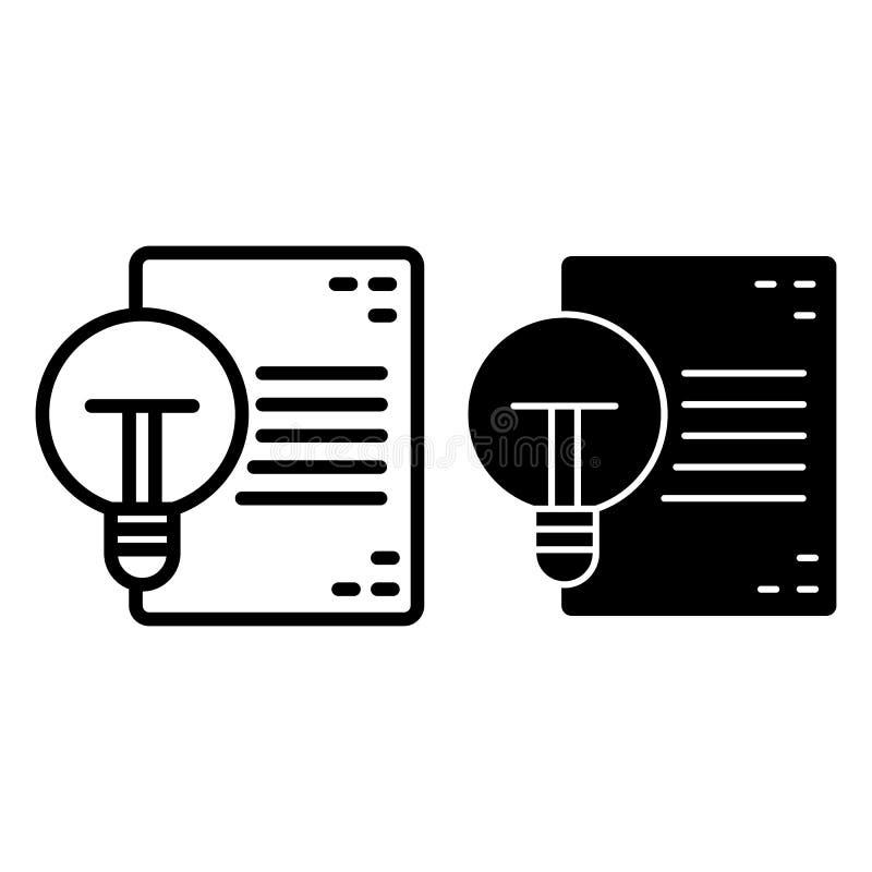 Ligne de document et d'ampoule et icône de glyph Idée et illustration de papier de vecteur d'isolement sur le blanc Liste avec la illustration de vecteur