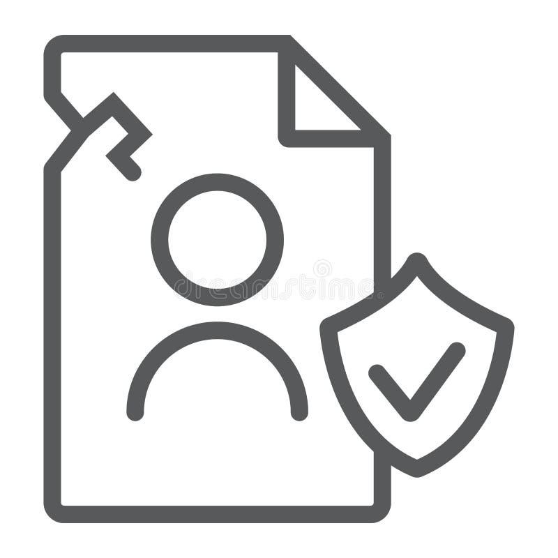 Ligne de données de personall d'infraction icône, privée et se protéger, signe d'infraction d'intimité, graphiques de vecteu illustration de vecteur