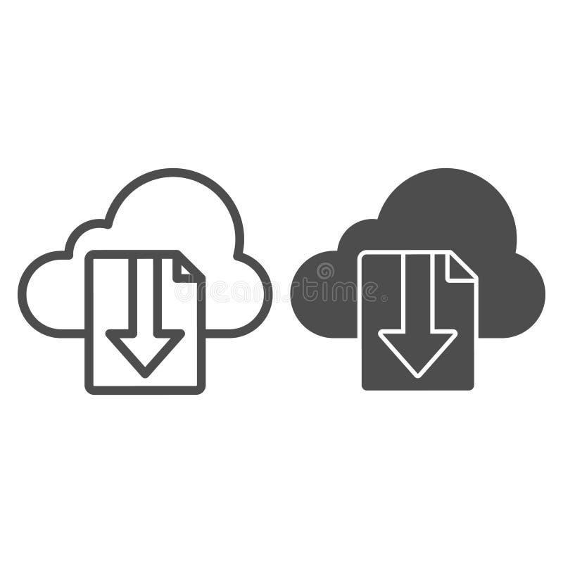 Ligne de dossier de téléchargement de nuage et icône de glyph Dossier sur l'illustration de vecteur de stockage de nuage d'isolem illustration de vecteur