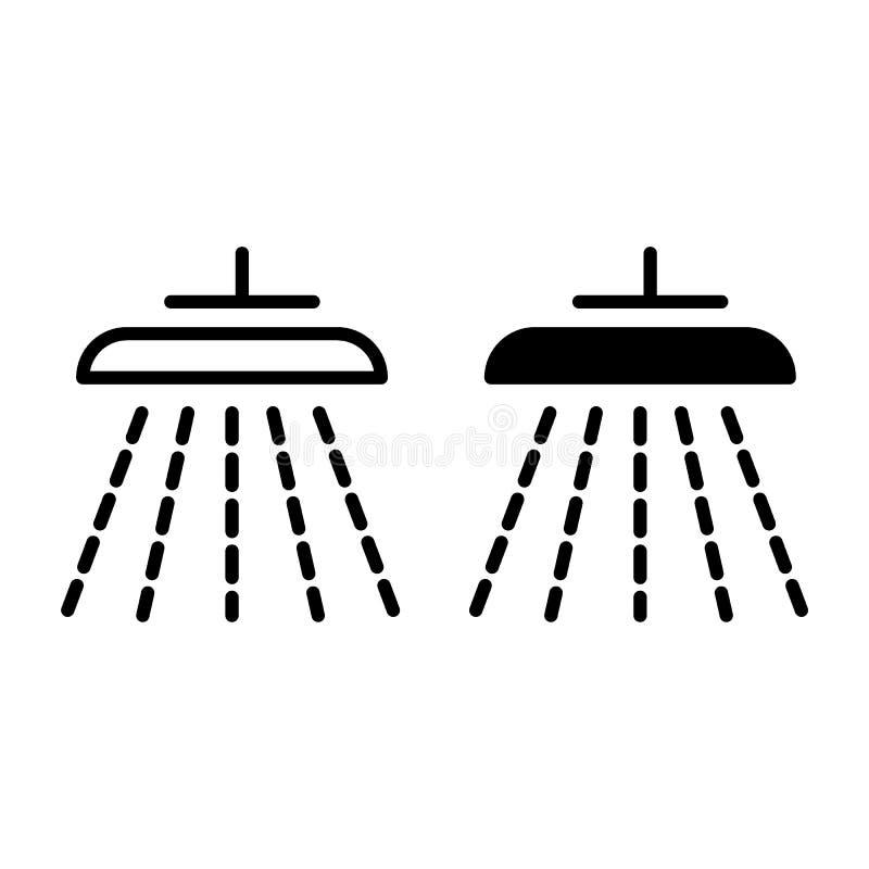 Ligne de douche et icône de glyph Illustration de vecteur de douche d'isolement sur le blanc Conception de style d'ensemble de po illustration libre de droits
