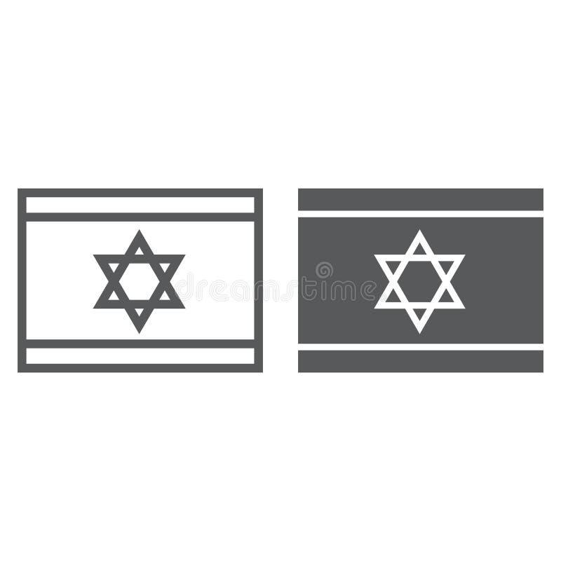 Ligne de drapeau de l'Israël et icône de glyph, ressortissant et pays, signe israélien de drapeau, graphiques de vecteur, un modè illustration de vecteur